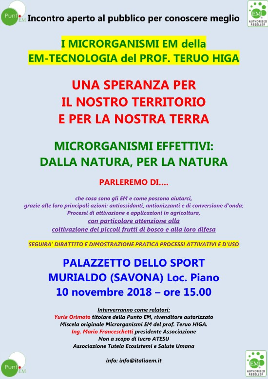 Incontro a Murialdo (Savona) sabato 10/11/2018