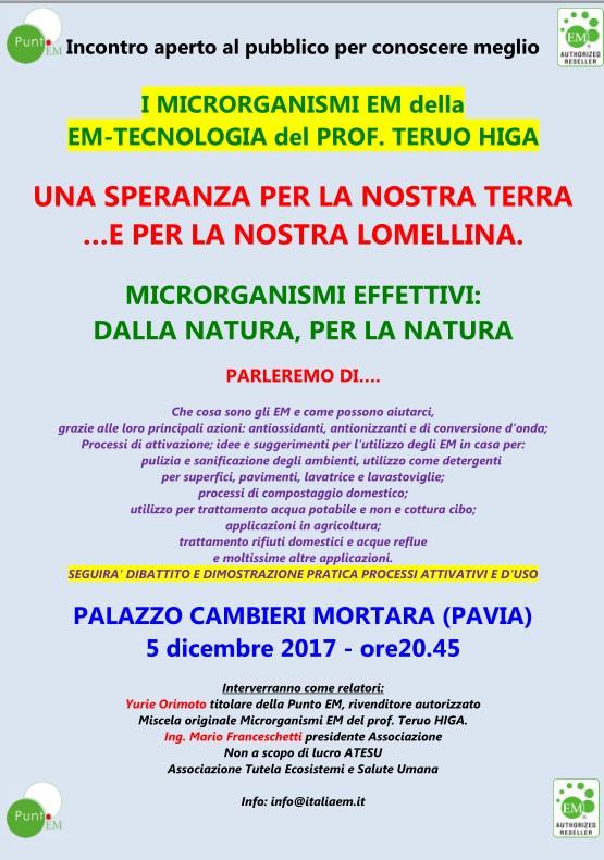 5 dicembre 2017 20.30 Incontro a Mortara (PV)